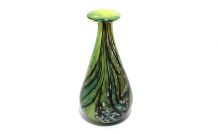 Green feathered vase handblown glass by Adam Aaronson