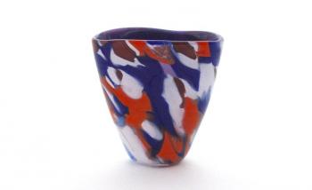 Blue Orange and White Vase