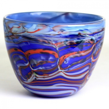 Blue Marbled Morris Bowl by Adam Aaronson
