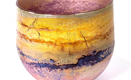 Purple Sunrise A freeblown Glass Landscape Bowl by Adam Aaronson