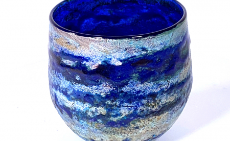 Blue Horizon Handlown glass bowl by Adam Aaronson