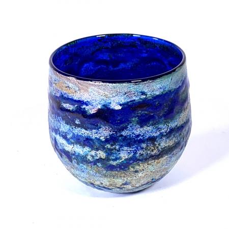 Blue Horizon Handlown glass bowl by Adam Aaronson