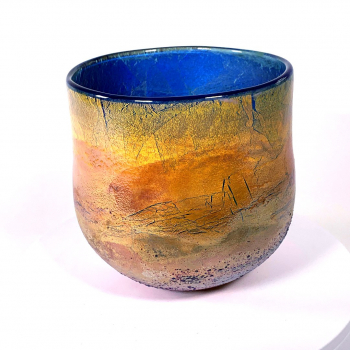 Golden Sunrise Handblown Glass Bowl by Adam Aaronson