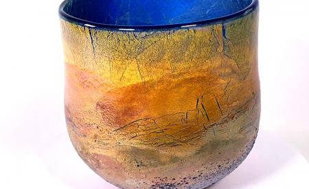 Golden Sunrise Handblown Glass Bowl by Adam Aaronson