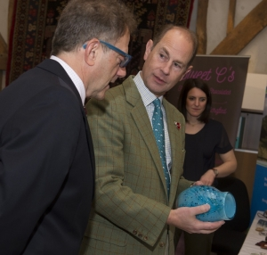HRH The Earl of Wessex discussing an Allegro Vase with Adam Aaronson at the Royal Visit to Showcase Surrey Hills Enterprises