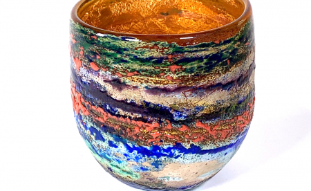 Poppy Fields II Handblown Glass Bowl By Adam Aaronson