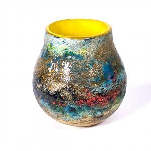 Summer Flowers Handblown Glass Pot by Adam Aaronson