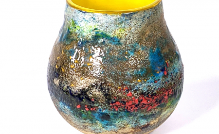 Summer Flowers Handblown Glass Pot by Adam Aaronson