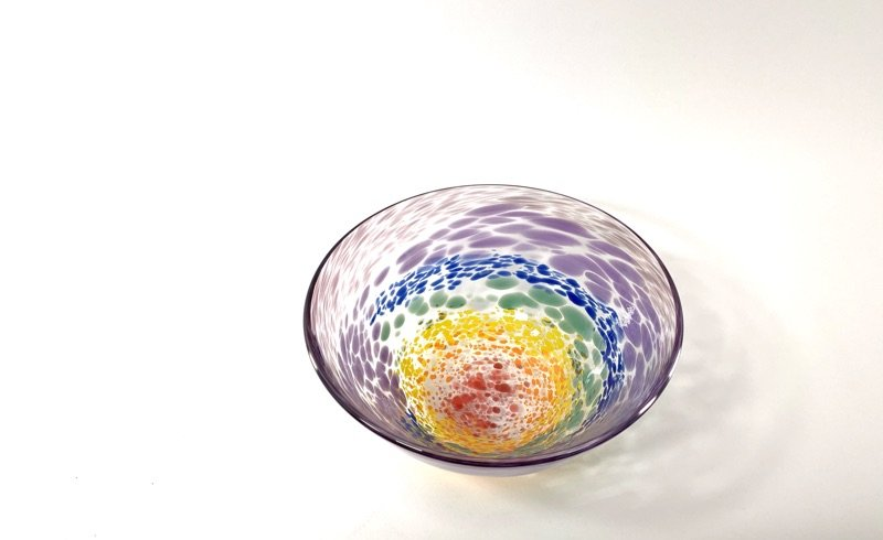 Rainbow Bowl Handblown Glass Bowl by Adam Aaronson
