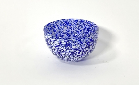 Blue and White Speckled Bowl hand made glass by Adam Aaronson