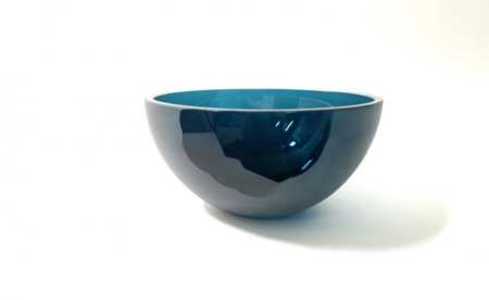 Inida Bowl Hand blown and cut glass by Adam Aaronson