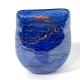 Blue lustre flat vase hand made glass by Adam Aaronson