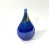 Blue lustre flat bottle hand made glass by Adam Aaronson