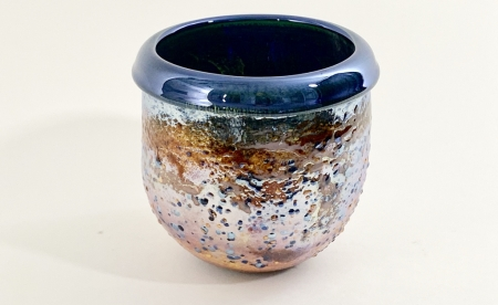 Blue Crackle Pot hand made glass by Adam Aaronson