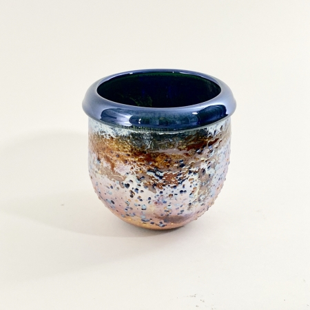 Blue Crackle Pot hand made glass by Adam Aaronson