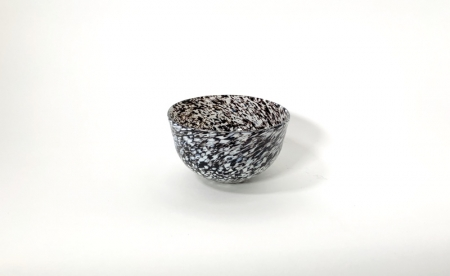 Black and White Speckled Bowl hand made glass by Adam Aaronson