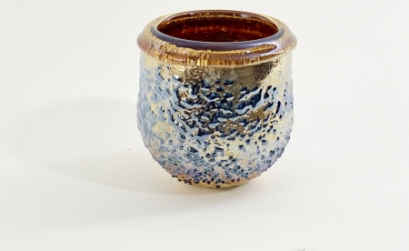 Topaz Crackle Pot hand made glass by Adam Aaronson