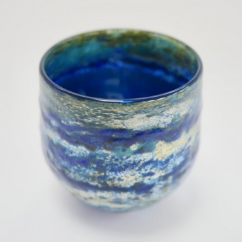 Deep Blue Horizon Vase , Handblown Glass by Adam Aaronson