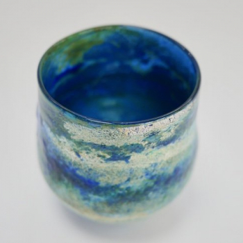 Mid Blue Horizon Vase , Handblown Glass by Adam Aaronson