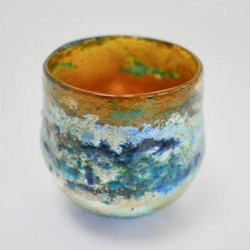 Gold Horizon Bowl,handblown glass by Adam Aaronson