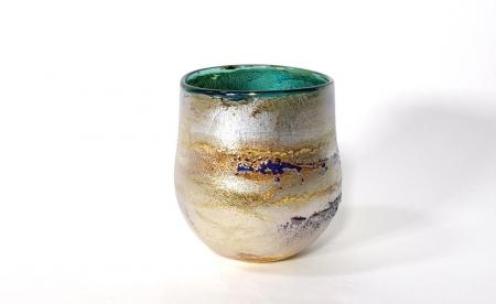 Green Sunrise Bowl, handblown glass by Adam Aaronson