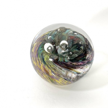 Hidden Depths,  handmade glass paperweight by Adam Aaronson