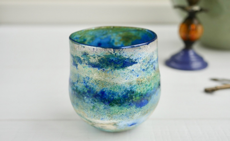 Pale Blue Horizon Vase , Handblown Glass by Adam Aaronson