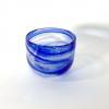 Blue and White Swirly Bowl Handblown Glass by Adam Aaronson