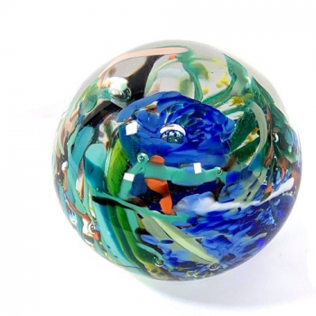 Tropical Reef, Handmade Glass Paperweight by Adam Aaronson