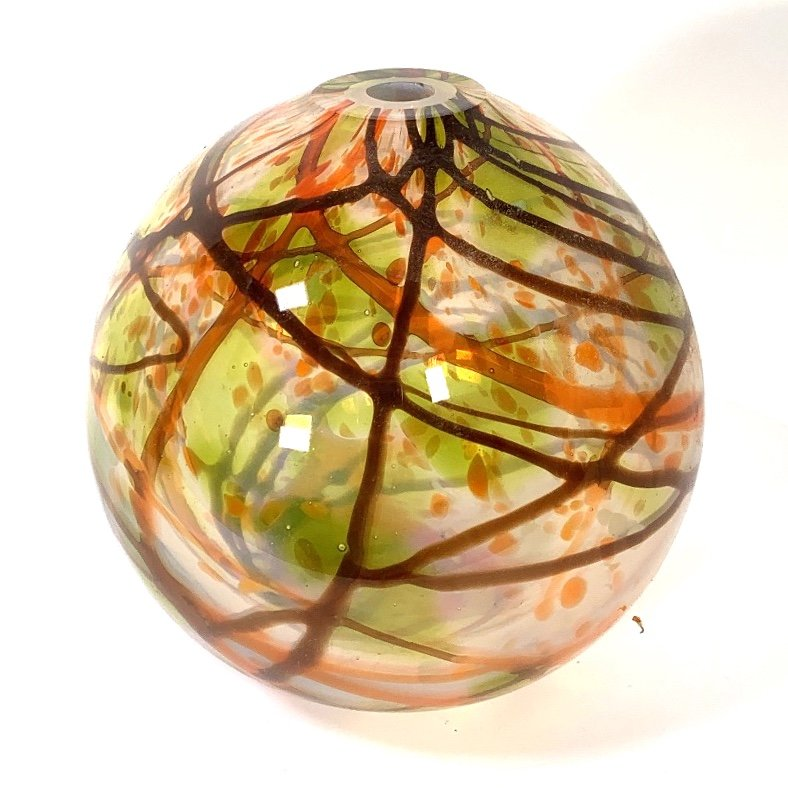 Autumn Leaves Round Vase Handblown Glass By Adam Aaronson
