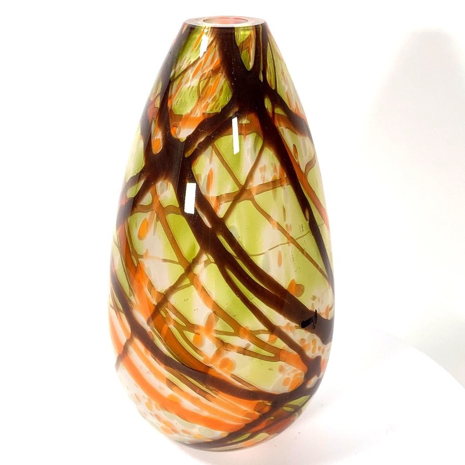 Autumn Leaves Tall Vase Handblown Glass By Adam Aaronson