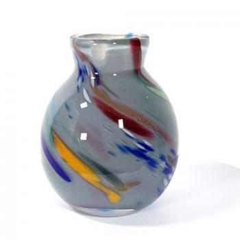 Grey beachcomber small bud vase Handblown Glass by Adam Aaronson
