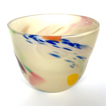 Latte Beachcomber Medium Bowl Handmade Glass Bowl by Adam Aaronson