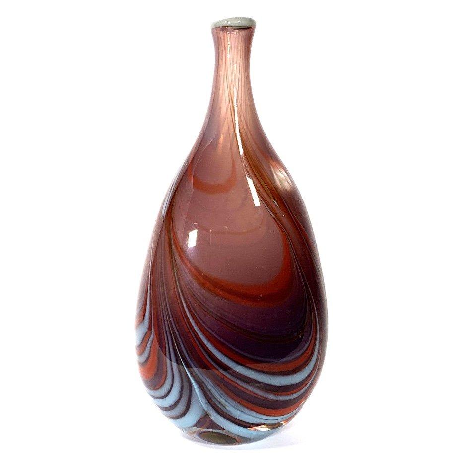 Mauve Brown Morris Vase Handmade Glass by Adam Aaronson