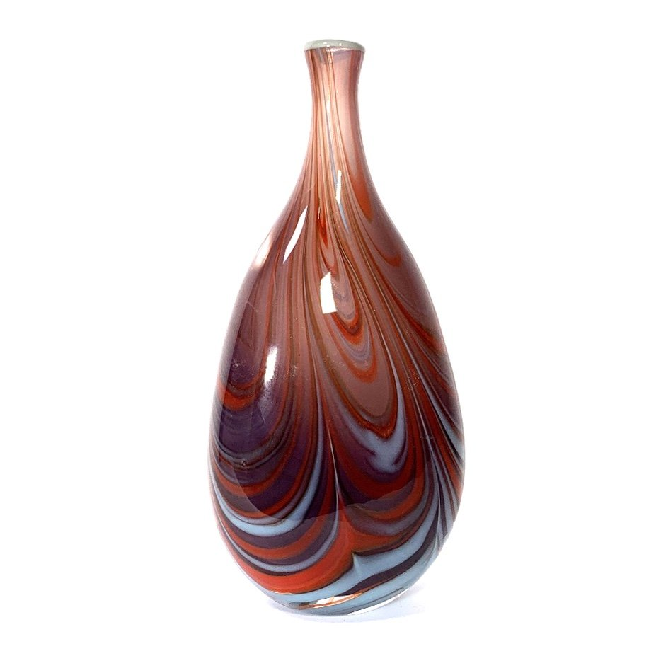 Mauve Brown Morris Vase Handmade Glass by Adam Aaronson
