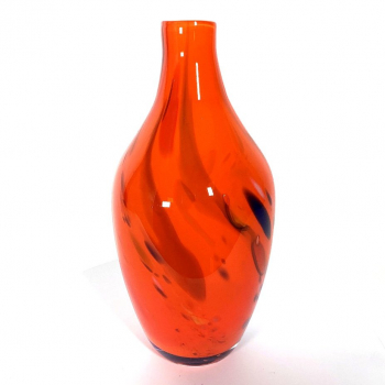 Red Beachcomber Medium Bottle Handmade Glass by Adam Aaronson