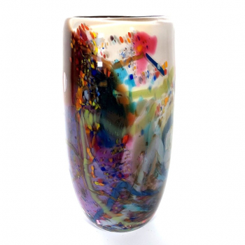 Secret Garden Small Cylindrical Vase Handblown Glass by Adam Aaronson