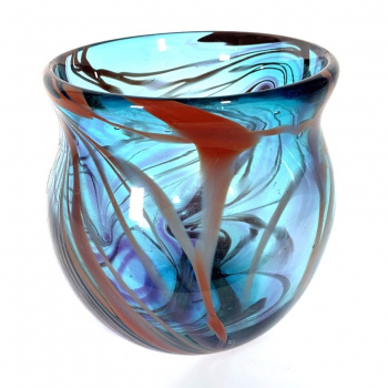 Turquoise Morris Bowl Handblown Glass by Adam Aaronson