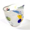 White Beachcomber Fan Vase Handmade Glass by Adam Aaronson