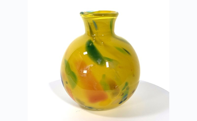 Yellow Beachcomber Medium bud vase Handblown Glass by Adam Aaronson