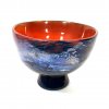 Blue lustre footed bowl, Handblown glass by Adam Aaronson