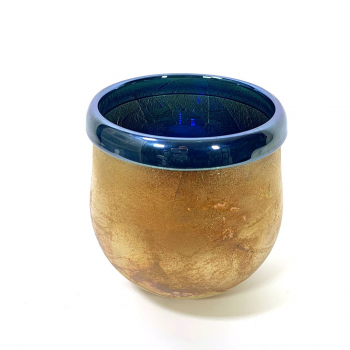 Blue lustre pot, Handblown glass by Adam Aaronson