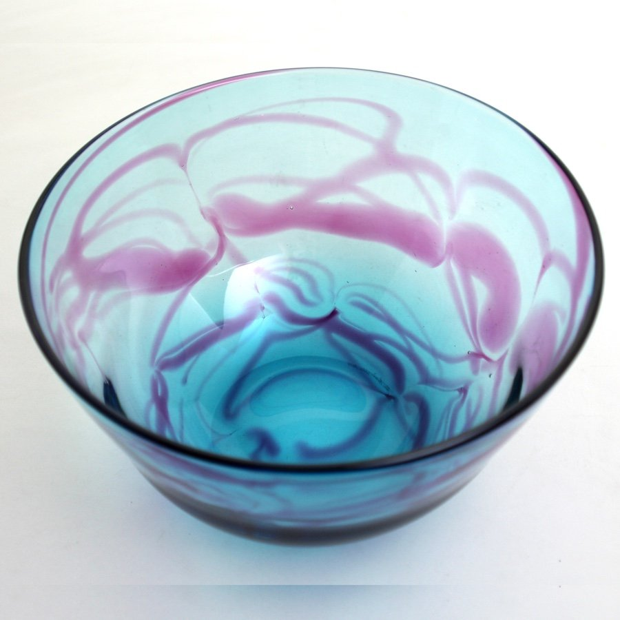 Turquoise and Purple Bowl Handblown Glass by Adam Aaronson