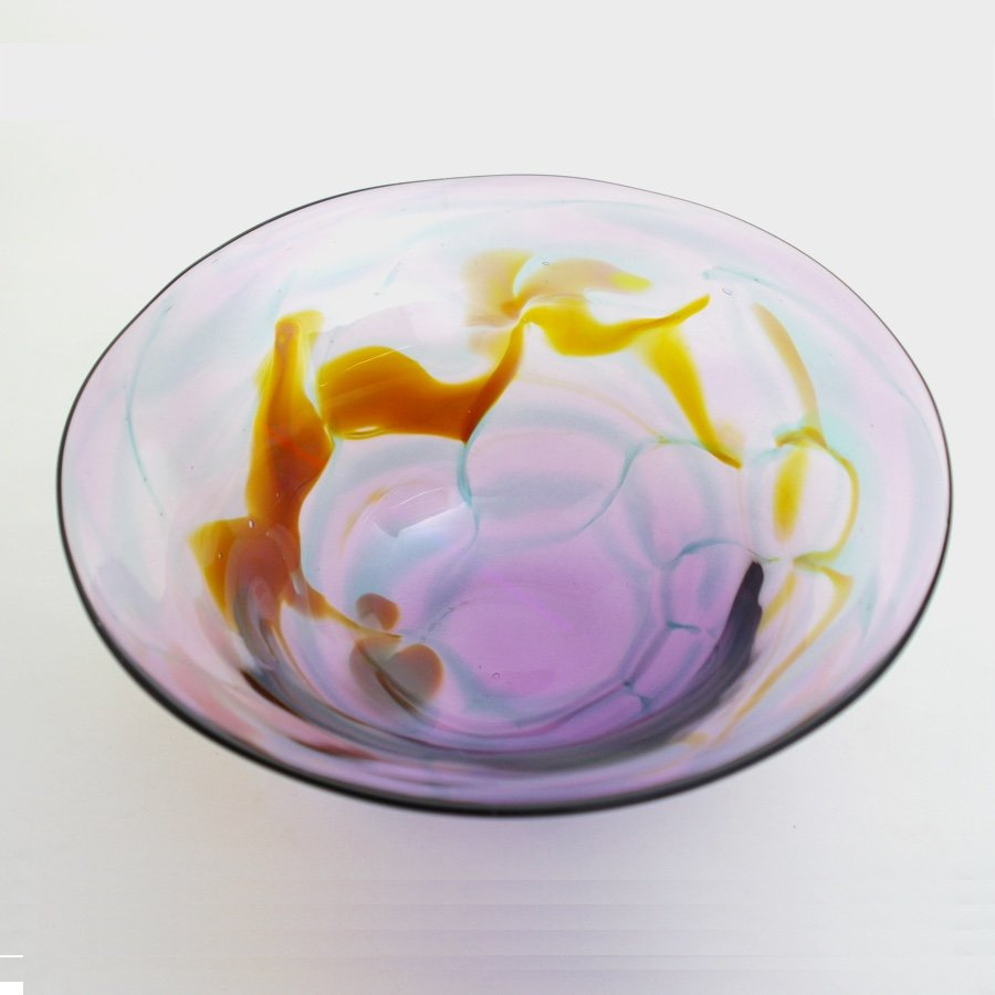 Hyacinth, Topaz and Turquoise Bowl Handblown Glass by Adam Aaronson