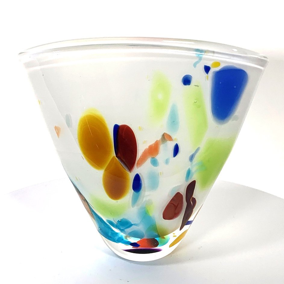 White Beachcomber Fan Vase Handmade Glass by Adam Aaronson