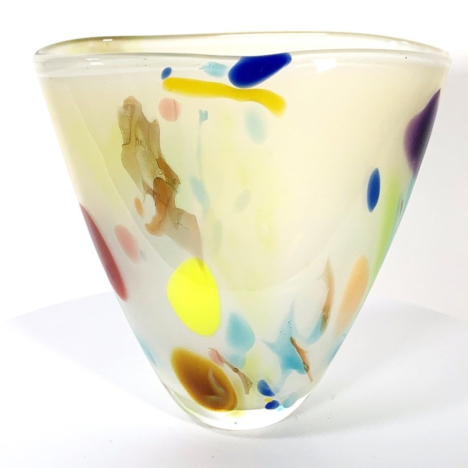 Vanilla Beachcomber Fan Vase Handblown Glass by Adam Aaronson
