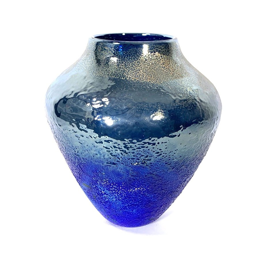 Blue Nocturne Lustre Vase, Handblown Glass by Adam Aaronson