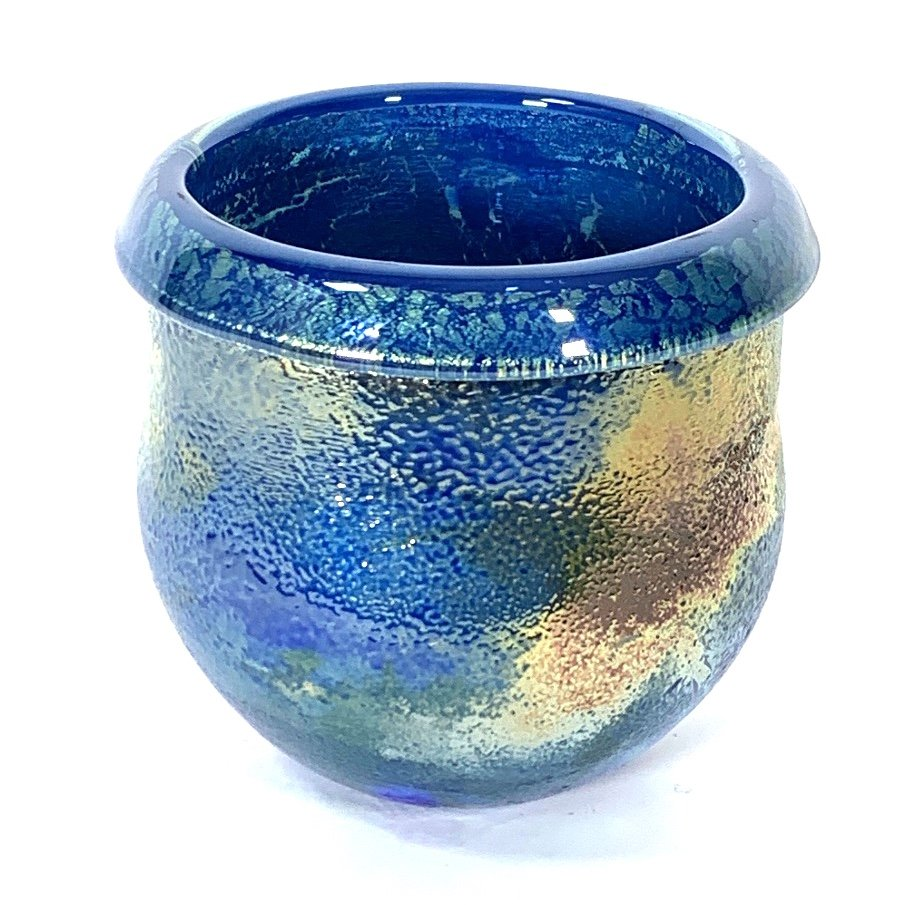 Blue Nocturne Lustre Pot , Handblown Glass by Adam Aaronson