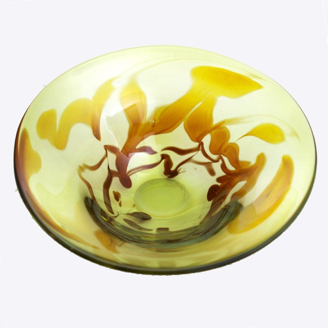 Lime and Topaz Feather Bowl Handblown Glass by Adam Aaronson