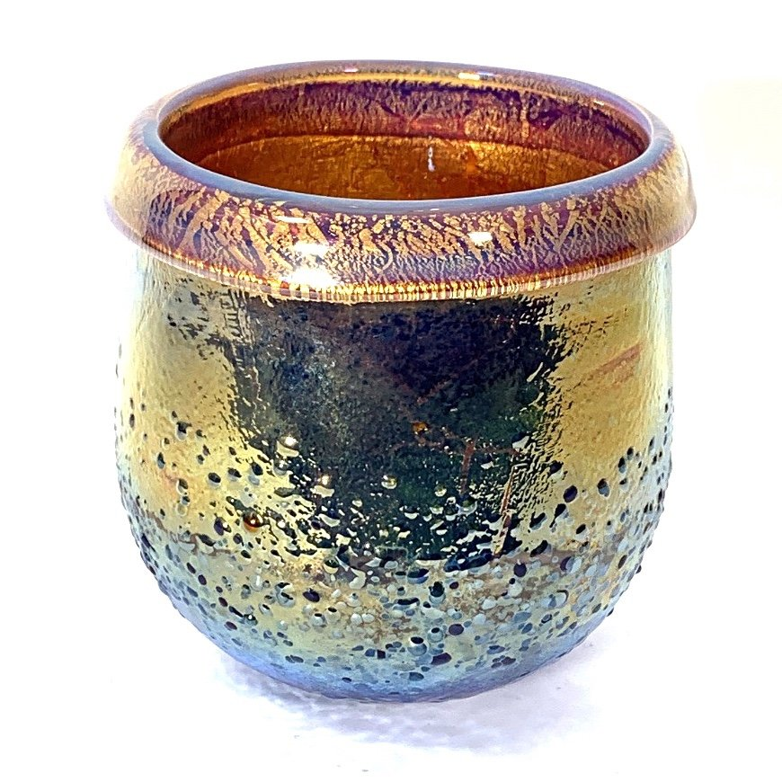 Pale Rose Crackle Pot, Hand blown Glass by Adam Aaronson
